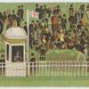 [Spectators, kiosk, and flag.]