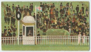 [Spectators, kiosk, and flag.]