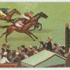[Horses on racetrack with marker.]