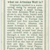 Do you know what an Artesian well is?