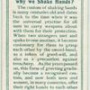 Do you know why we shake hands?