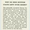 Do you know why do men button coats left over right?