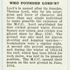 Do you know who founded Lord's?