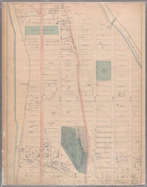 Sheet 17: [Bounded by 158th Street, 10th Avenue, 155th Street, 8th Avenue, 154th Street, 7th Avenue, 149th Street, 6th Avenue, W. Hundred & Twenty Fifth Street, and (Audubon Park) 11th Avenue.]