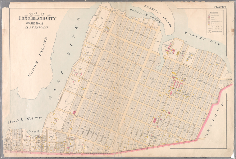 Plate 7: [Bounded by Berrians Avenue, De Bevoise Avenue, Riker Avenue, Old Bowery Road, Cabinet Street, Flushing Avenue, Mills Street, Orchard Street, Remsen Street and Boulevard.]