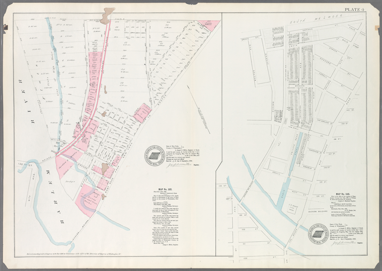 Plate 4: Map No. 302 [Bounded by Harlem River, [149th Street] and Post Road from New York to Boston.]- Map No. 549 [Bounded by Grove St., Cottage St., Villa Place, Old Boston Road, 130th Street, 4th Avenue, Macomb Avenue and Walton Avenue.]