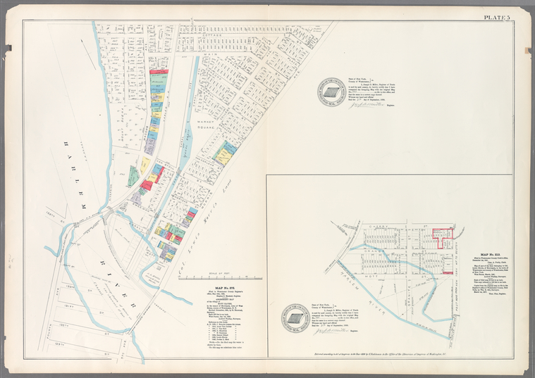 Plate 5: Map No. 375 [Bounded by Fourth Avenue, Riverside Avenue, Macomb Avenue, Cottage Street, Morris Avenue, 3rd Avenue and 129th Street.] - Map No. 213 [Bounded by Cherry Street, Old Harlem Bridge Post Road from New York to Boston, Harlem River and New bridge.]