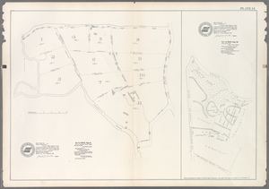 Plate 14: Vol. 3 of Maps, Page 10. [Bounded by Old Road, Road to Hunt's Point and (Homestead Farms of Thos. Leggett) Leggetts Creek.] - Vol 2. of Maps, Page 28. [Bounded by Bronx River, The Hunt's Point Road and The Westchester Turnpike Road.]