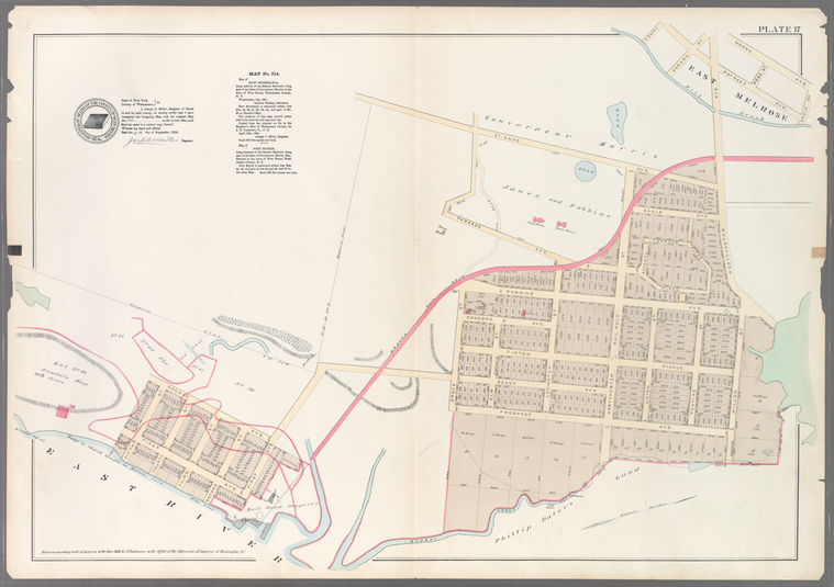 Plate 17: Map No. 314 [Bounded by St. Anns Avenue, Westchester Avenue, Willow Street, Prospect Avenue, Grove Street, First Street. (East River) First Avenue, Fifth Street, Second Avenue and Reserve Line.]