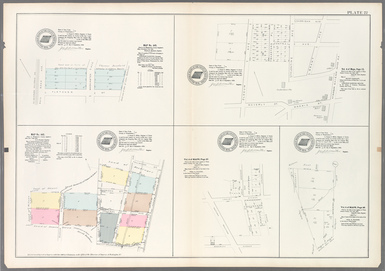 Plate 22: Map No. 443 [Bounded by Railroad Ave., Washington Ave. and Fletcher St.] - Vol. 4 of Maps, Page 12: [Bounded by Sherigan Ave., Grant Ave., N.Y. & Harlem, & N.Y. & New Haven R.R., Morrist St., Waverly St. and Slocum Ave.] - Map No. 442: [Bounded by Tallmadge St., Land of the New York and Harlem Railroad Company, Quarry Road, Valentine Ave. and Slocum Ave.] - Vol. 4 of Maps, Page 27: [Bounded by Southern Blvd., Locust Ave., Catherine St., Chestnut St. and Woodruff Ave.] - Vol. 4 of Maps, Page 28: [Bounded by Wilkens pond, Bathgate, Boston Post Road, and Broadway.]