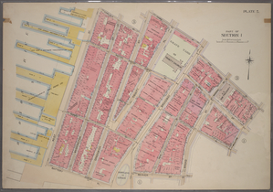 Plate 2, Part of Section 1: [Bounded by Carlisle Street, Greenwich Street, Thames Street, Broadway, Pine Street, William Street, Exchange Place, Broad Street, Beaver Street, Bowling Green, Battery Place, and (Hudson River Piers) West Street.]