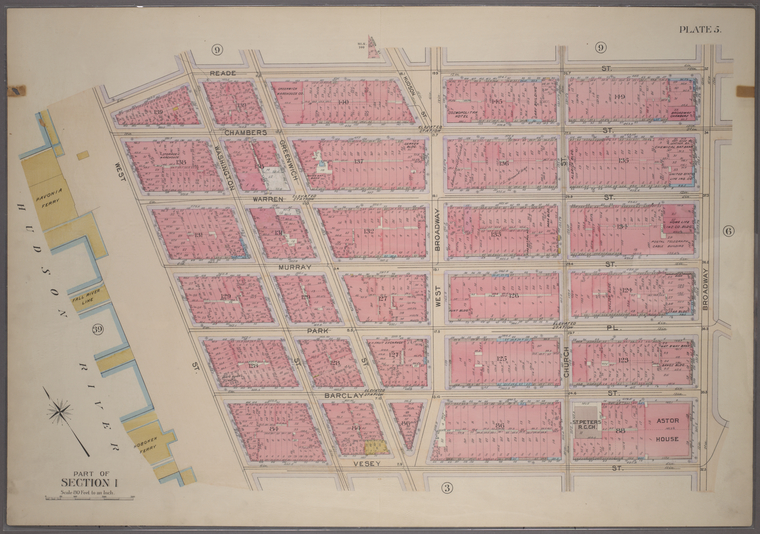 Plate 5, Part of Section 1: [Bounded by Reade Street, Broadway, Vesey Street and West Street.]