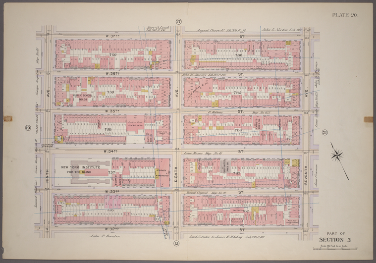 Plate 20, Part of Section 3: [Bounded by (W. 37th Street, Seventh Avenue, W. 32nd Street and Ninth Avenue.]