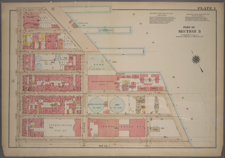 Plate 1, Part of Section 3: [Bounded by E. 20th Street, Avenue C (East River), E. 14th Street and Avenue B.]