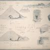 Pyramids of Abouseir: sections, plan, views, and hieroglyphics.