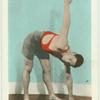Exercise 10. Stand legs wide apart, body bent, arms resting as shown...
