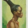 Zulumädchen mit fonderbarer Haartracht.