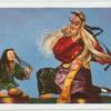 Chinesische Schauspielerpuppen. Der Magier und seine Gehilfin.