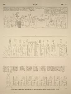 Edfou [Idfū]. 1. Grand temple, au dessus de la porte d'entrée; 2. Idem, paroi droite du pronaos; 3. Idem, galerie de gauche.