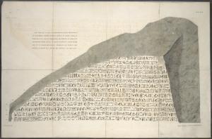 [Hieroglyphs on the Rosetta stone.]