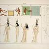 1. Zwei Netzflechter, nach einem Gemälde in den Gräbern von Beni-Hassan; 2. Ein Weber, ebendaselbst; 3. Basrelief an der Decke des Pronaos des Minerventempels zu Esneh oder Latopolis: eine mänliche Gestalt mit vier Widderköpfen, ... ; 4,5. Colorirte Reliefs mit dem kleineren Tempel zu Absambul [Abu Simbel] in Nubien, ... ; 6. Vertieftes Relief an der äusseren Wand des Tempels des Arueris-Apollo zu Edfou oder Apollonopolis Magna ...