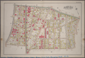 Plate 13: Part of Sections 9&10, Borough of the Bronx. [Bounded by E. 169th Street, Intervale Avenue, Hall Place,  E. 165th Street and Park Avenue.]