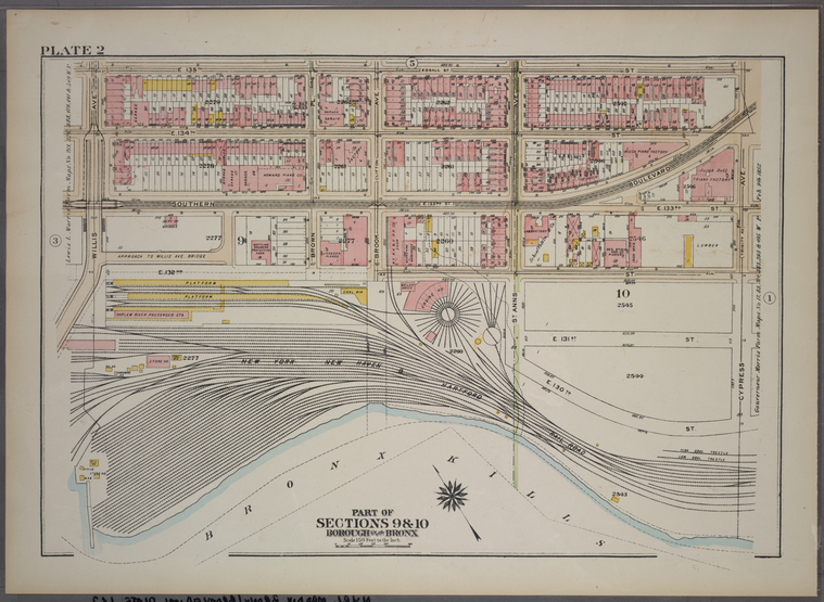 Plate 2, Part of Sections 9&10, Borough of the Bronx. [Bounded by E. 135th Street, Cypress Avenue, E. 132nd Street and Willis Avenue.]