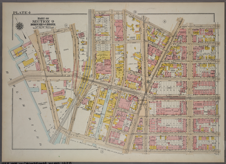 Plate 4, Part of Section 9, Borough of the Bronx. [Bounded by E. 141st Street, E. 142nd Street, Alexander Avenue, E. 135th Street, and Exterior Street.]