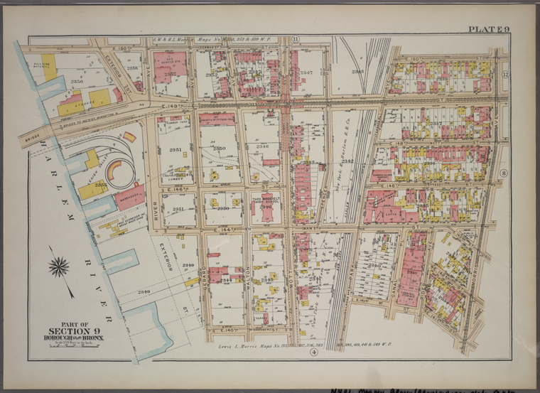 Plate 9, Part of Section 10, Borough of the Bronx. [Bounded by E. 150th Street, Morris Avenue, E. 141st Street, Park Avenue, E. 144th Street, Mott Avenue, E. 140th Street, Gerard Avenue and Exterior Street.]