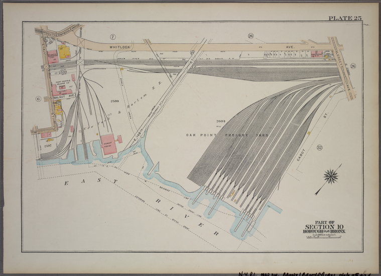 Plate 25, Part of Section 10, Borough of the Bronx. [Bounded by E. 141st Street, Whitlock Avenue, Leggett Avenue, Cabot Street and East River.]