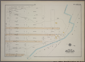 Plate 33, Part of Section 10, Borough of the Bronx. [Bounded by Longfellow Avenue, Ryawa Avenue, Barretto Street, Tiffany Street and East Bay Avenue.]