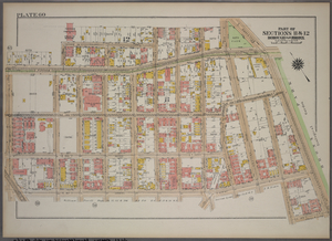 Plate 60, Part of Sections 11&12, Borough of the Bronx. [Bounded by E. Fordham Road, Bathgate Avenue, E. 191st Street, Hughes Avenue, E. Fordham Road, Southern Boulevard, E. 185th Street, Prospect Avenue, E. 187th Street and Washington Avenue.]