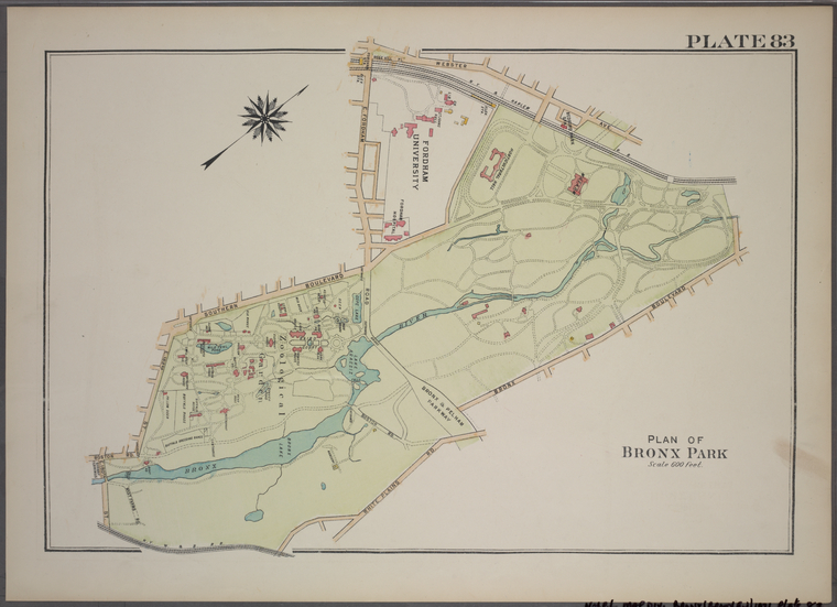 Plate 83, Part of Section 13, Borough of the Bronx. [Bounded by Webster Avenue, Bronx Boulevard, White Plains Road, E. 180th Street, Boston Road, E. 188th Street, Southern Boulevard and E. Fordham Road.]
