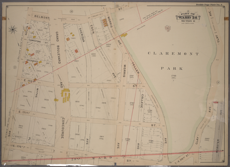 Double Page Plate No. 2, Part of Ward 24, Section 11. [Bounded by Belmont Street, Clay Avenue, E. 170th Street and Walton Avenue.]