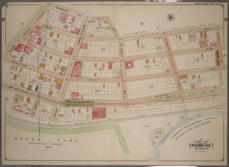Double Page Plate No. 37, Part of Ward 24, Section 12. [Bounded by Bainbridge Avenue, E. 205th Street, Perry Avenue, E. 209th Street, Webster Avenue and E. Mosholu Parkway North.]