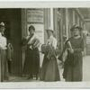 1913 Budapest IWSA Congress. [International Woman Suffrage Alliance, Congress, Budapest Members in front of a restaurant.]