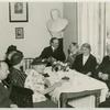 American and English guests at the Hungarian Feminist Association, Budapest, 1938: Augusta Markowitz, librarian USA, George Lansbury M.P. England and other English gentleman guests at the Hungarian Feminist Ass., Budapest