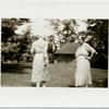[Katherine Devereux Blake (back to camera) and unidentified guest.]