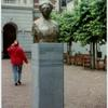 Bust of Aletta Jacobs in front of Harmonie Building of the campus in Gronigen.