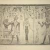 [Gemhes (?) (who is the god Horus) blesses the king Amenhetep III [Amenhotep III] (left side); The goddess Nekhebt faces the king, who offers her two bowls of the kind so often figured in the funeral offerings to Osiris (right side).]