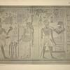 The king ... wears the crown of Lower Egypt only, and burns incense in a golden lamp to the goddess before him. With his right hand he pours out a libation ... (left side). The king, in mortal royal dress, holding the amulet ankh in his right hand, is blessed by Amen [Amon] (right side)