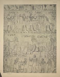 [The harvest scene: corn carriers, the ploughmen, etc.; Renni and his scribe Zehuti (on the bottom register).]