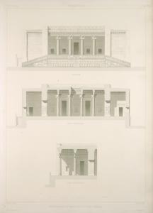 Persépolis. Restauration du palais no. 3 du plan général. (Élévation, coupe transversale, coupe longitudinale.)