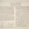 Die Inschriften zu den Stunden des Tages und der Nacht an der Decke des grossen Saales im Isistempel von Philae. d und e zeigen die erste und zwölfte Stunde der Nacht nach einer bildlichen Darstellung im Tempel von Dendera.