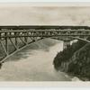 Steel suspension bridge at Niagra Falls.