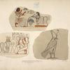 Drawings on stone found at Thebes, 1818. In the collection of the Earl of Belmore. Same size as the originals.