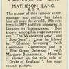 Matheson Lang.