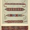 "a-e) Women's glass-bead necklaces from Neresnice and Jasina (c-e); f) Woven stripe for ornamenting a Kirghiz ""kibitka."""