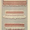 a-c) Cuffs of women's blouses, flouced, ornamented on the folds with cotton crosses, Volovec.