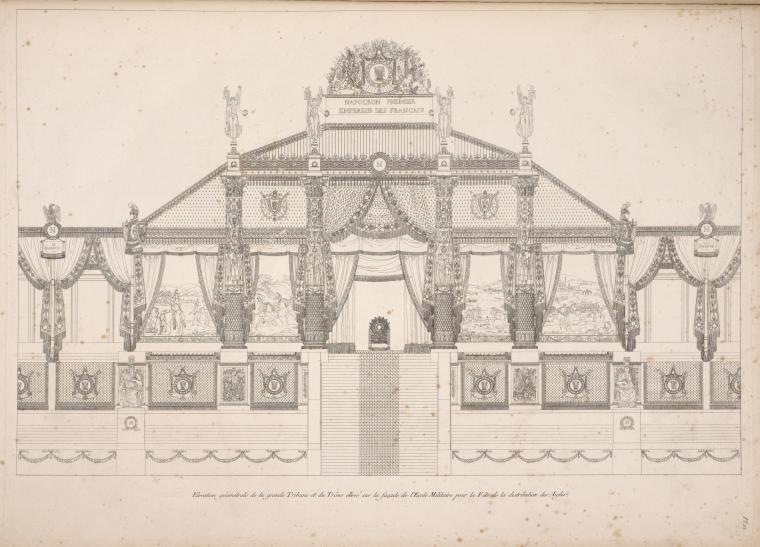 Élévation géométrale de la grande Tribune et du Trône élèvé sur la façade de l'École Militaire [...]